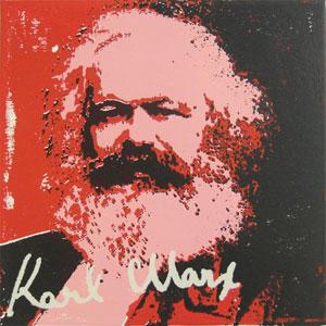 Edition des Portraits von Karl Marx auf Aludibond, je 20 x 20 cm, je 30 €